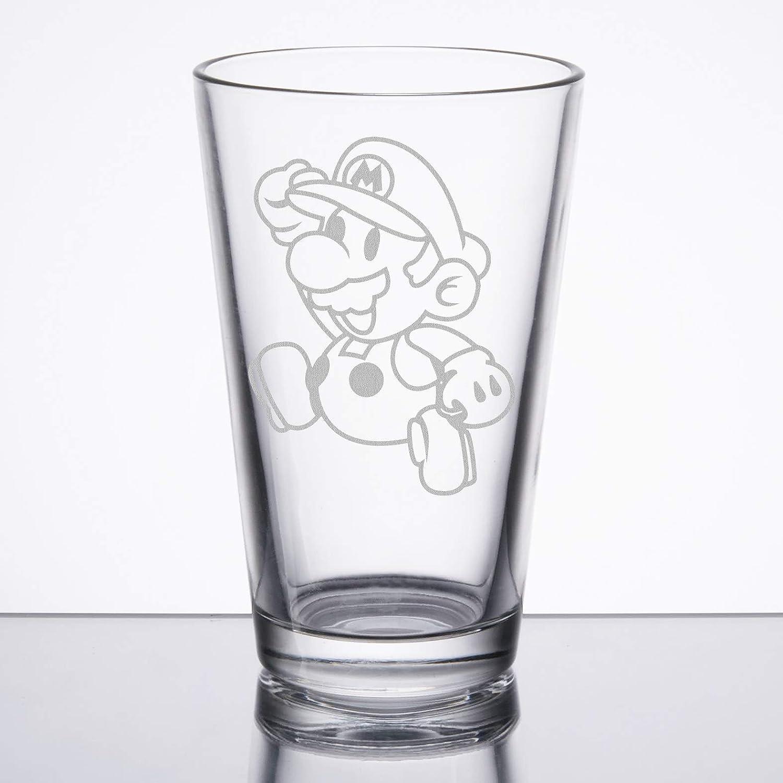 Paper Mario Etched Pint Glass Super Mario Bros