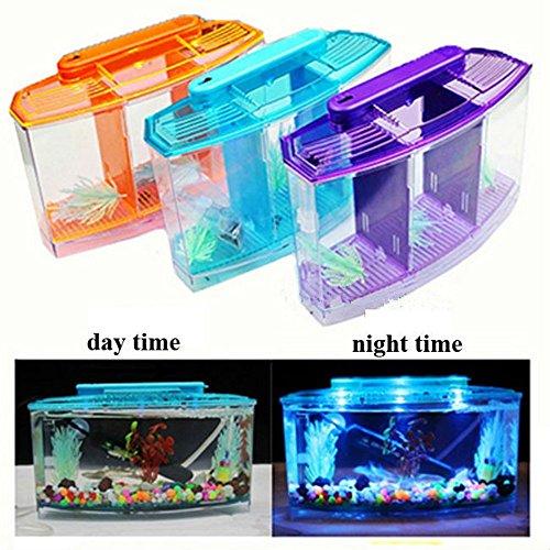 Aquarium Acrylic Three Splits Betta Fish Tank Triple Bow LED Light Fighting isolation hatch breed box turtle house Reptile cage (blue)