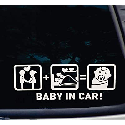 IMNEXT2U Baby in Car Stickers Baby on Board Funny Window Sticker Decals - How to Make a Baby 1 Pcs : Sports & Outdoors