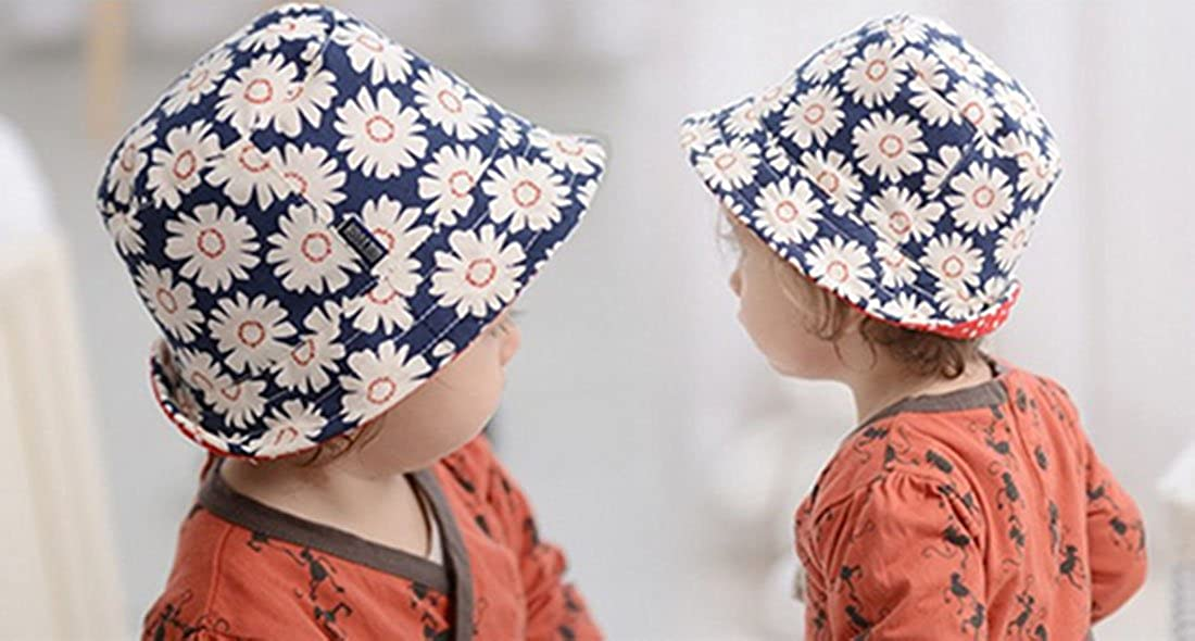 UPF Cotton Abbyling68 Baby Toddler Kids Sun Hat With Chin Strap,Adjustable Head Size,50