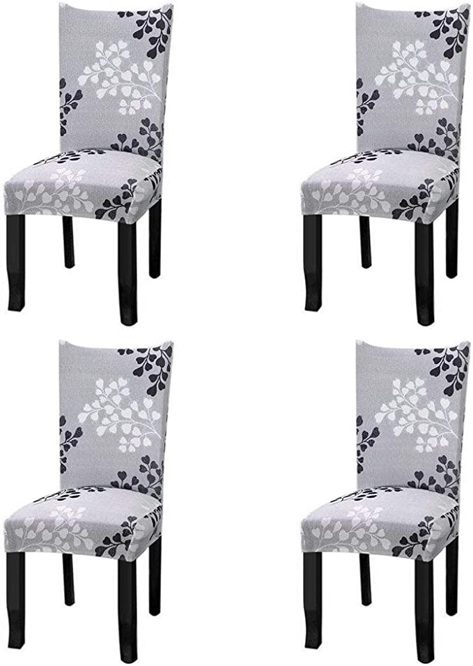 Fuloon Super Fit Stretch Removable Washable Short Dining Chair Protector Cover Seat Slipcover for Hotel,Dining Room,Ceremony,Banquet Wedding Party (4 Per Set, A)