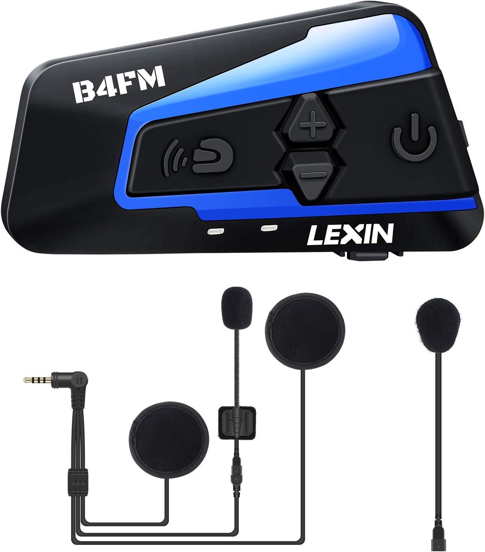 LEXIN B4FM Intercomunicador Casco Moto, Moto Bluetooth Radio Comunicador para Casco, Manos Libres para Moto, Intercom Casco Moto para 4 Motoristas, Motocicleta Interphone con Cancelación de Ruido