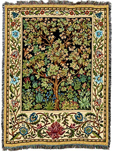 Pure Country Weavers | William Morris Tree of Life Woven Tapestry Throw Blanket with Fringe Cotton USA 72x54