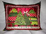 Festive Christmas pillow in beautiful fabrics and trims with green & gold fabric on reverse side. A conversation piece and work of art!