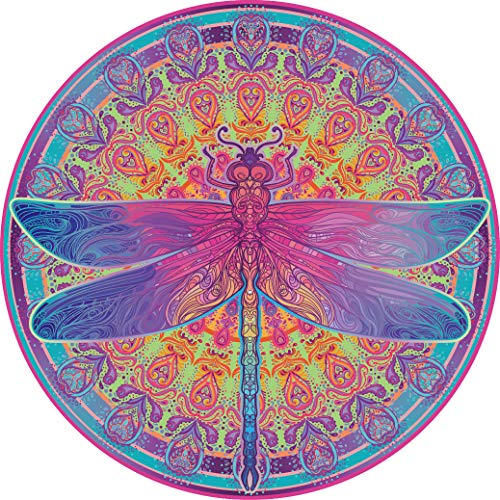 Challenge 1000 Piece Puzzle - Bgraamiens Puzzle-Zentangle Dragonfly-1000 Pieces Vivid Dragonfly Mandala Challenge Blue Board Round Jigsaw Puzzles