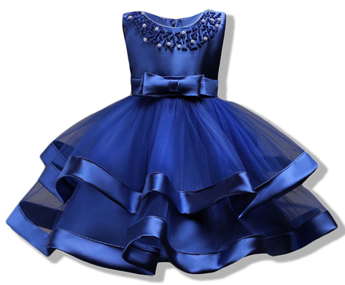 AYOMIS Girls Lace Bridesmaid Dress Wedding Pageant Dresses Tulle Party Gown Age 3-9Y(Blue,5-6Y)