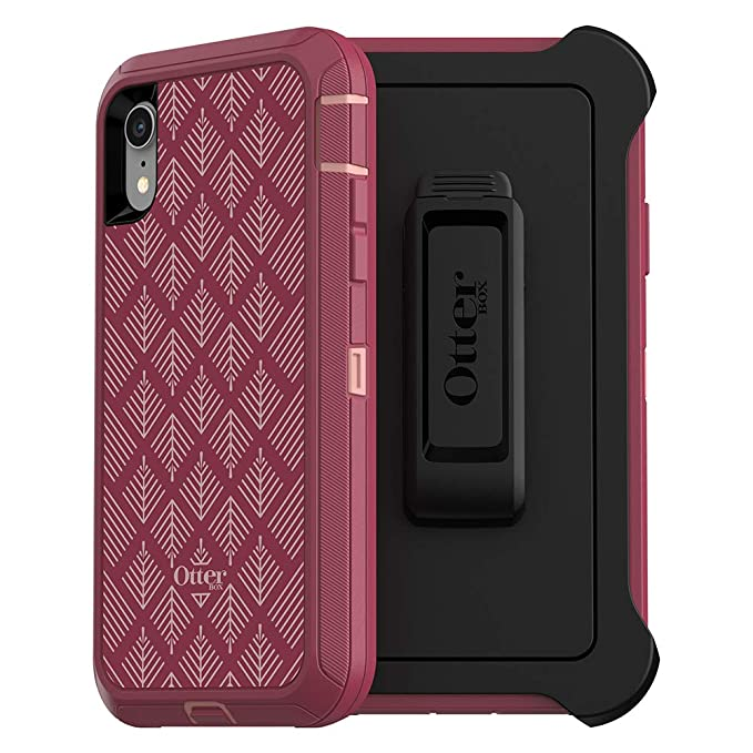big sale 92130 e333d OtterBox Defender Series SCREENLESS Edition Case for iPhone Xr - Retail  Packaging - HAPPA (Silver Pink/RED Plum/HAPPA Graphic)