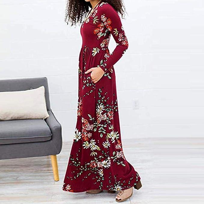 ❤️Vestidos Largos Plisados de Las Mujeres, Bolsillos de Manga con Estampado Floral Imperio Cintura Largo Maxi Absolute: Amazon.es: Ropa y accesorios