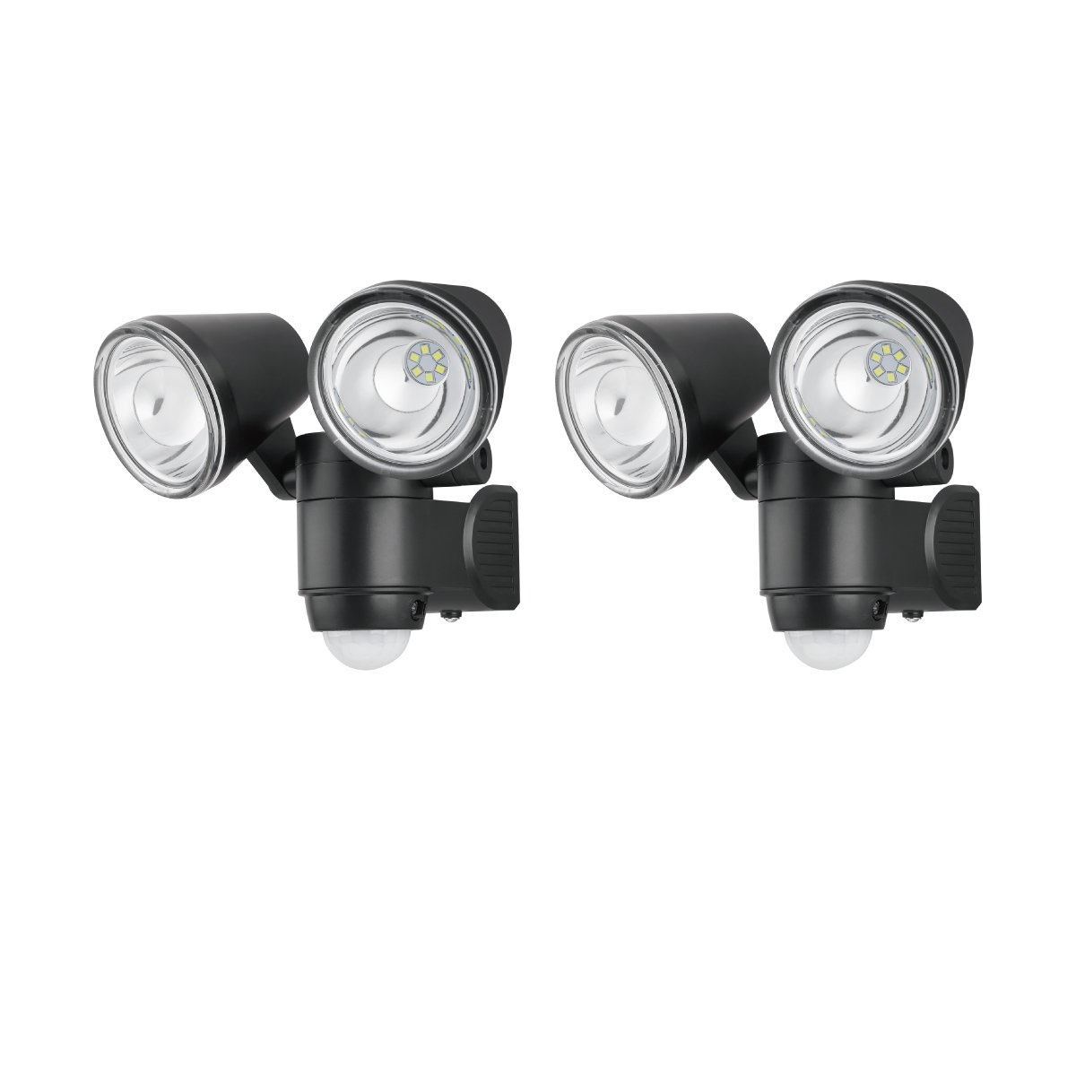 Link2Home EM-BL268B-2PK 330 Lumen LED Battery Operated Security Adjustable Dual-Head Sensor Floodlight with Photocell Technology in Black, 2pk