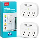 3-Outlet Surge Protector, LETMY Multi Plug Outlet Extender with 2 USB Wall Charger, 600 Joules, Compact Wall Plug…