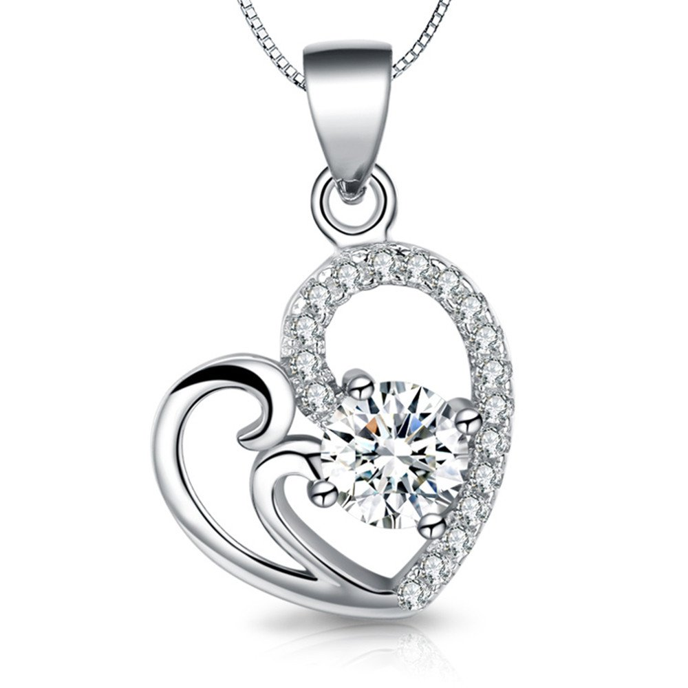 925 Sterling Silver Magic Love Heart Cubic Zirconia Pendant Necklace,Gift for Women