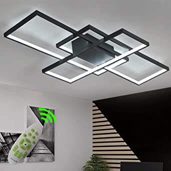 80w Modern Dimmable Chic Led Dining Room Ceiling Light Contemporary Flush Mount Living Room Kitchen Island Table Bedroom Remote Lighting Fixture Creative Design Chandeliers Black Painting Finish Amazon Ca Tools Home