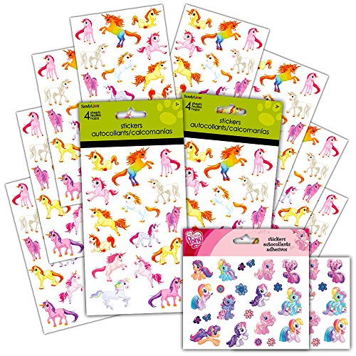 Unicorn Stickers Party Supplies Pack -- Over 120 Unicorns Stickers and Licensed Stickers (8 Party Favors (Unicorn Stickers)
