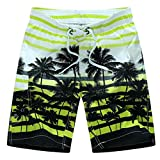 Forthery Mens Shorts Summer Beach Swim Trunks Quick Dry Board Shorts with Pocket (US 3XL = Asia 4XL, Yellow)