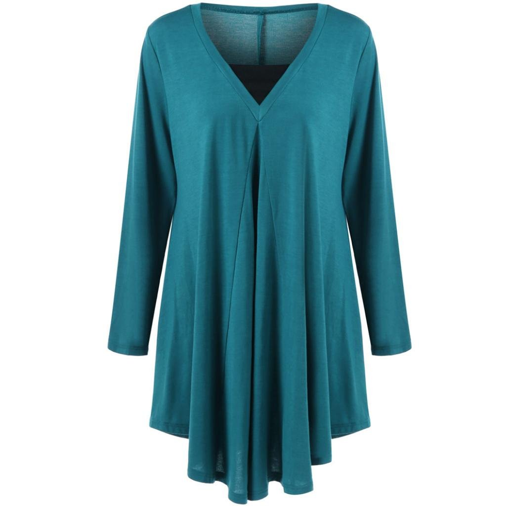 Toimoth Plus Size Women Casual Loose Solid Long Sleeve Cotton Tops T-Shirt Blouse(Blue,4XL) by Toimoth Tops (Image #2)