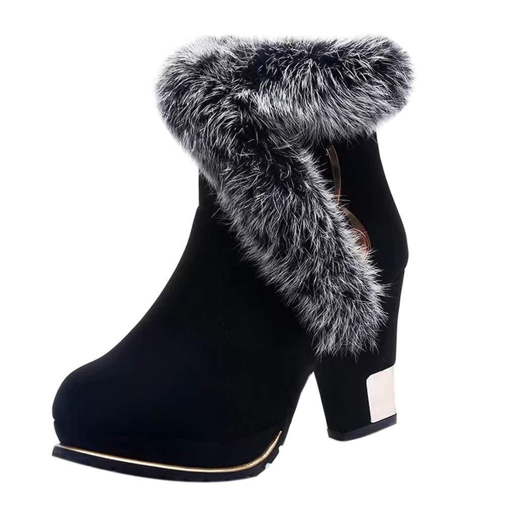 Logobeing Botas Mujer Invierno Botines Mujer Zapatos Botas de Tacón Alto Botas de Mujer Zapatos de Plataforma CáLida Fiesta Elegante (Negro, 35): Amazon.es: ...