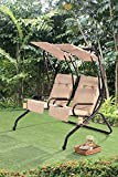 Sunjoy Sherborn Steel Porch Lover Seats Swing with Beige Shades & Cushions Review