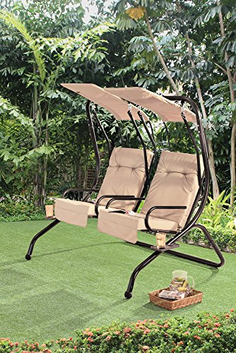 Sunjoy Sherborn Steel Porch Lover Seats Swing with Beige Shades & Cushions