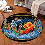 Sophiehome Soft Carpet 313105346 National Christmas celebrations, dances, songs in winter Cheerful holiday in winter of people the Russian art Paleh Anti-skid Carpet Round 34 inches