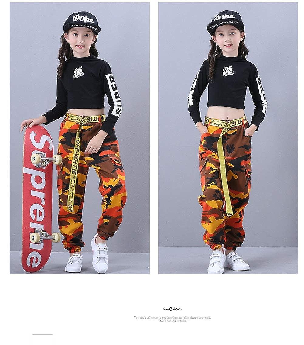 Filles Jazz Dance Costume Hip Hop Street Dancewear Enfants Danse Camo V/êtements Set