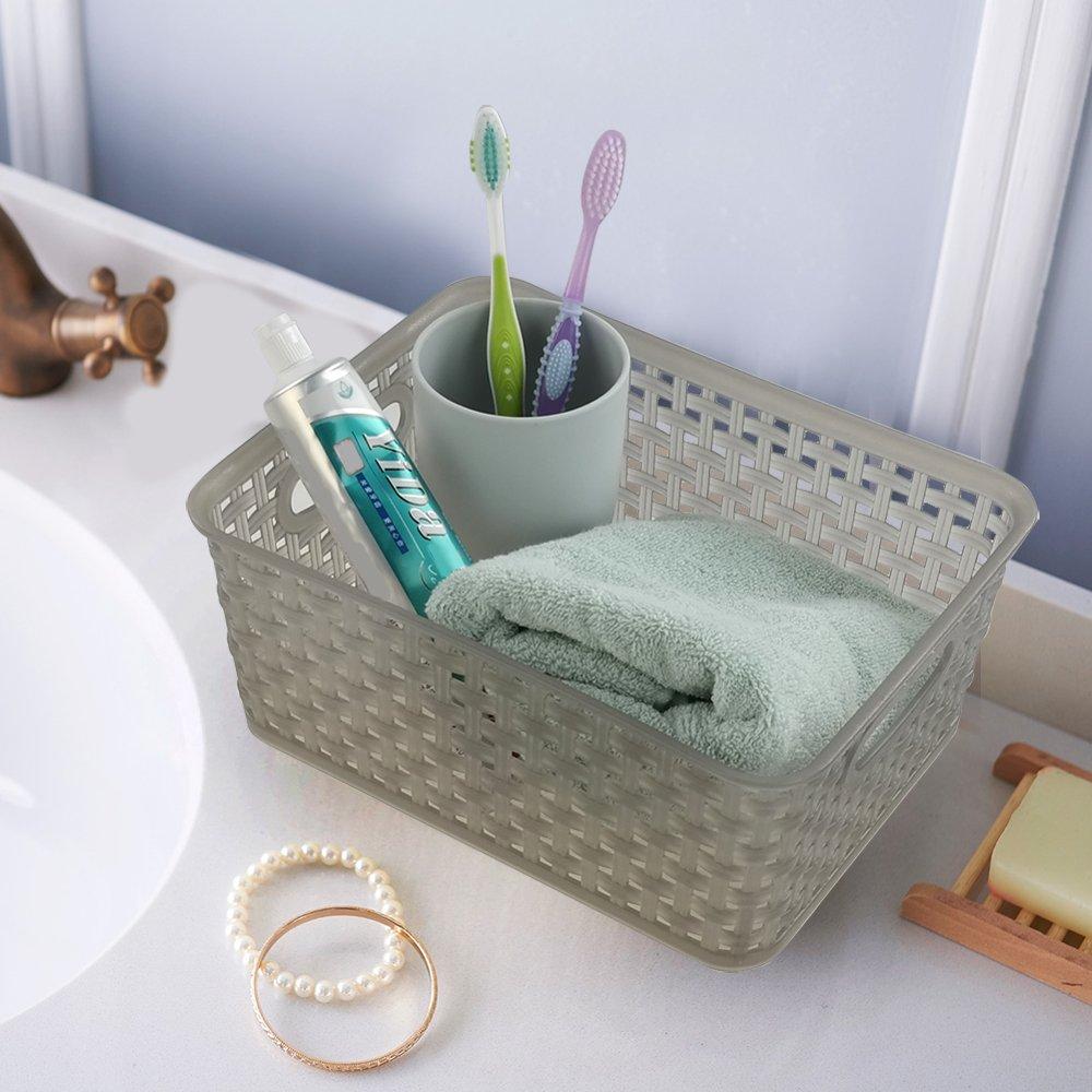 & Jekiyo Grey Plastic Pantry Storage Baskets/ Bins 4-Pack