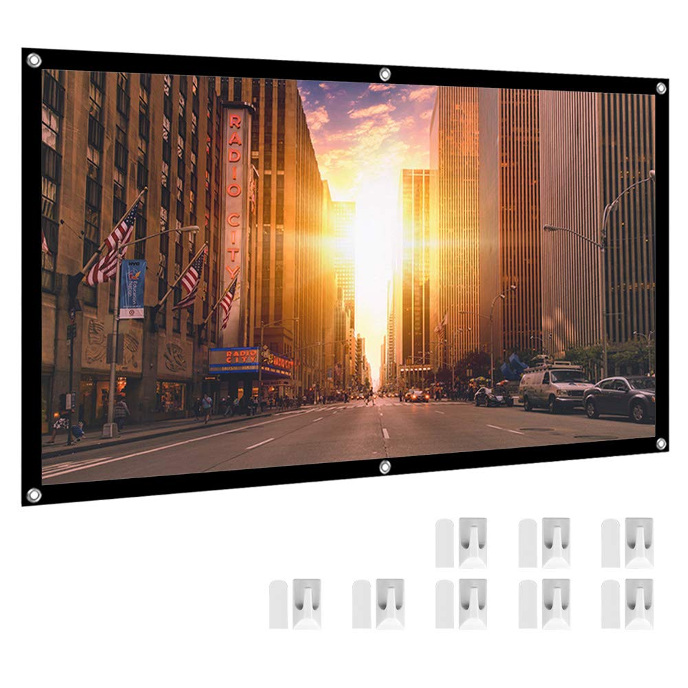 HENZIN 100'' Inches 16:9 Simple Portable Projector Screen Polyester Outdoor Indoor Foldable Wall Mounted Projection Screen For Home Cinema Camping Theater w Peel-and-Stick Hooks