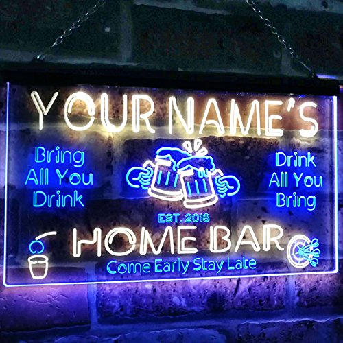 AdvpPro 2C Personalized Your Name Custom Home Bar Beer Established Year Dual Color LED Neon Sign Blue & Yellow 12