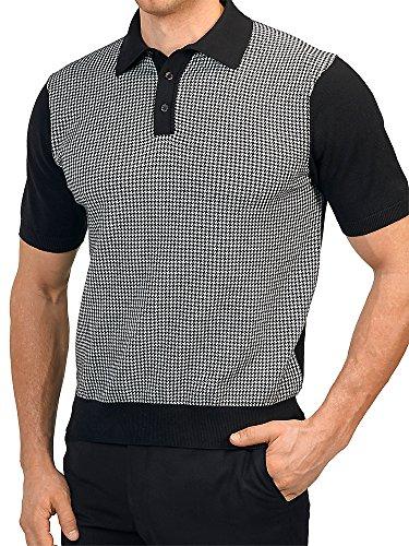 Paul Fredrick Men's 100% Cotton Houndstooth Polo Collar Short Sleeve Sweater