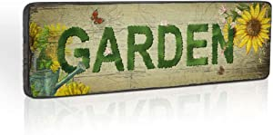 Garden Themed Decorative Signs Vintage Wood Hanging Sign Outdoor Garden Decor Plaques Patio Deck Porch Yard Art Decoration by 16''x5''