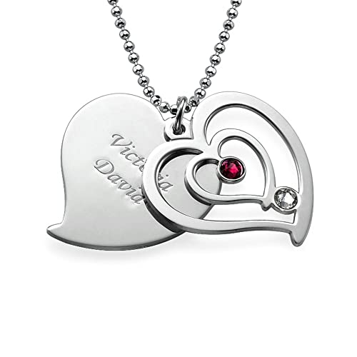2a46478bb8 Amazon.com: Personalized Couples Birthstone Heart Pendant Necklace in  Sterling Silver Engraved Custom Made with Any Name: Jewelry