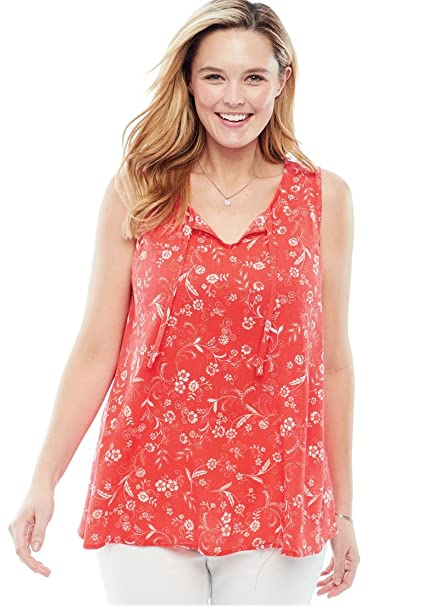 0b8a90b703f1f9 Woman Within Plus Size Gauze Tank - Coral Red Floral Scroll, L at Amazon  Women's Clothing store: