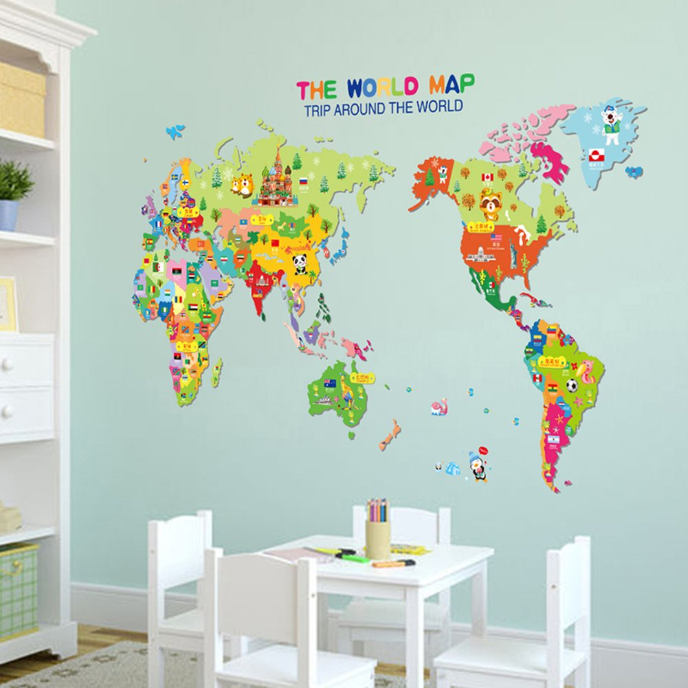 Amazon wowall childrens bedroom decor trip around the world amazon wowall childrens bedroom decor trip around the world cartoon map of the world wall decals home kitchen gumiabroncs Image collections