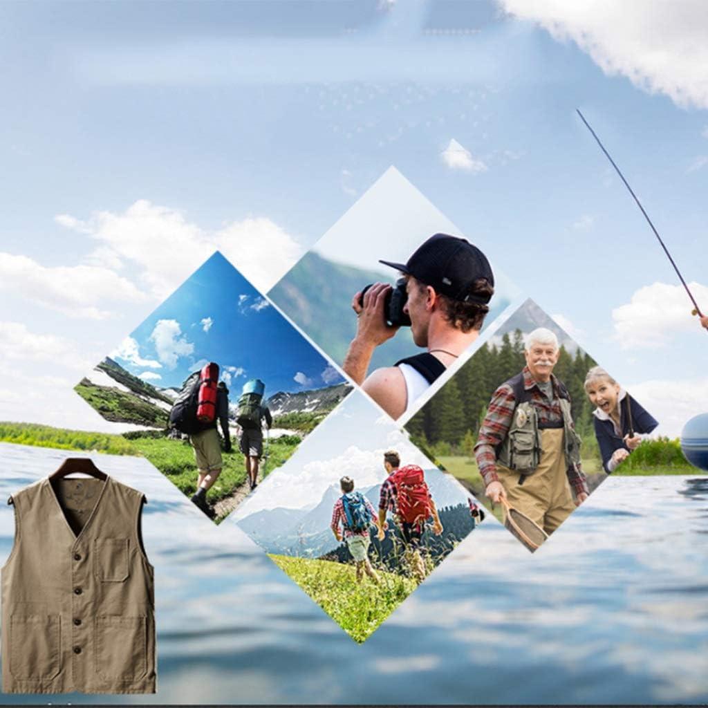 para la Pesca Medium Chaleco Delgado para la Primavera y el oto/ño algod/ón Chaleco de Media Edad Gilets Chaleco de algod/ón con m/últiples Bolsillos para Hombre Beige