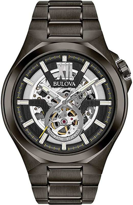 Amazon.com: Bulova Men's Automatic-self-Wind Watch with Stainless-Steel  Strap, Grey, 27 (Model: 98A179): Watches