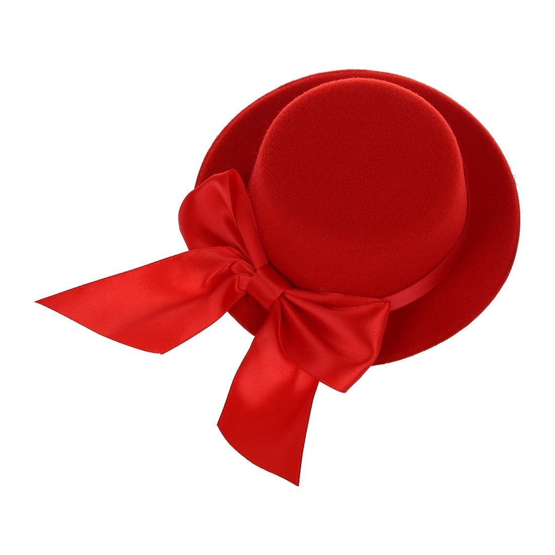 eefda9a34 SODIAL (R)Ladies Mini Top Hat Fascinator Burlesque Millinery w/ Bowknot -  Red