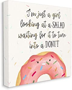 Stupell Industries Just a Girl Looking at Salad Funny Food Phrase, Designed by Ziwei Li Wall Art, 17 x 17, Canvas