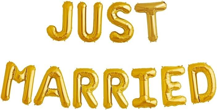 Ballonfritz Luftballon Just Married Schriftzug In Gold Xxl Folienballon Als Hochzeits Deko Begrüßung Party Geschenk Fotorequisite Oder