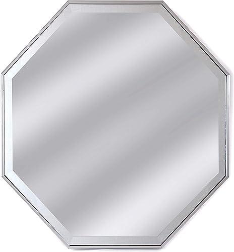 Alpine Art Mirror Tivoli 28 Silver Framed Wall Octagon Mirror