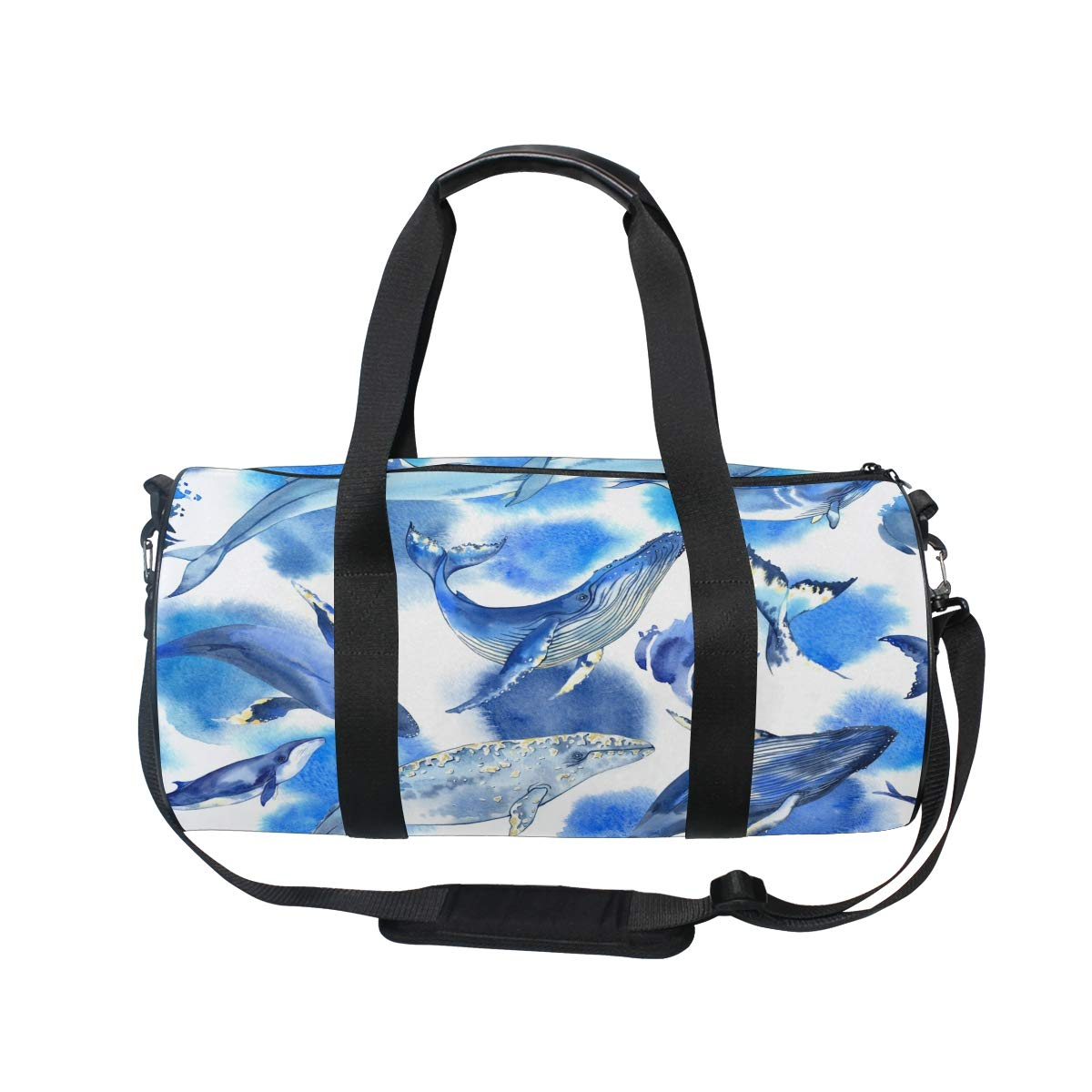 Sea Whale Yoga Sports Gym Duffle Bags Tote Sling Travel Bag Patterned Canvas with Pocket and Zipper For Men Women Bag by EVERUI (Image #2)