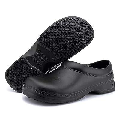 Women's and Men's Slip Resistant Work Shoes Comfort Slip on Chef or Nursing Shoes, Black, 7.5 Women/6 Men: Shoes