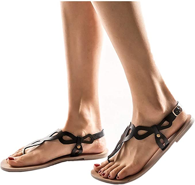 Womens Ankle Strap Buckle Shoes Roman Flat Gladiator Sandals Summer Casual Shoes