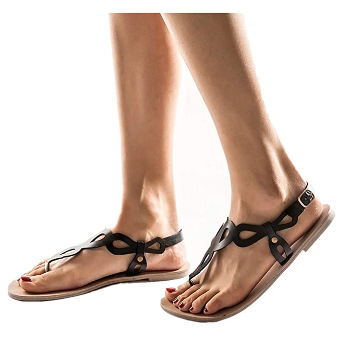 79d21c01e57152 Women Summer Gladiator Flat Sandals Ankle Strap Buckle Strap Roman Thong  Beach Casual Slippers (Black