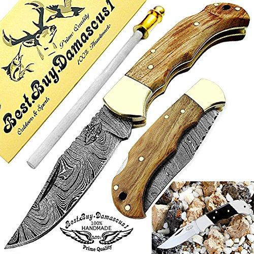 Pocket Knife Olive Wood 6.5'' Damascus Steel Knife Brass Bloster Back Lock Folding Knife + Sharpening Rod Pocket Knives 100% Prime Quality+ Buffalo Horn Small Pocket Knife + Damascus Knife by Best.Buy.Damascus1 (Image #6)