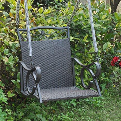 Resin Wicker Single (International Caravan Valencia Resin Wicker Hanging Single Porch Swing Black)