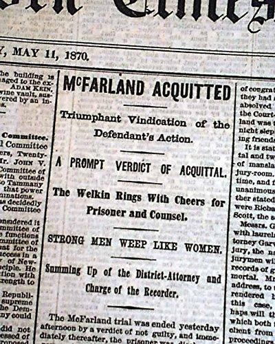 Daniel McFARLAND MURDER TRIAL Albert Richardson - NOT GUILTY 1870 Newspaper THE NEW YORK TIMES, May 11, 1870