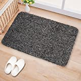 Indoor Doormat Super Absorbs Mud 28''x18'' Latex Backing Non Slip Door Mat for Small Front Door Inside Floor Dirt Trapper Mats Cotton Entrance Rug Shoes Scraper Machine Washable Carpet Black White Fiber