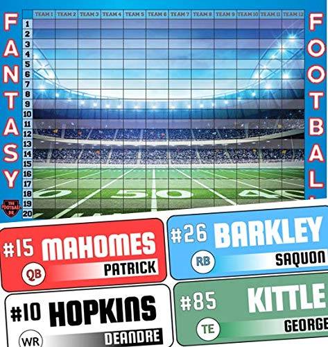 Fantasy Football Draft Board 2019 Kit - Color Rush Labels & Draft Board - Draft Kit