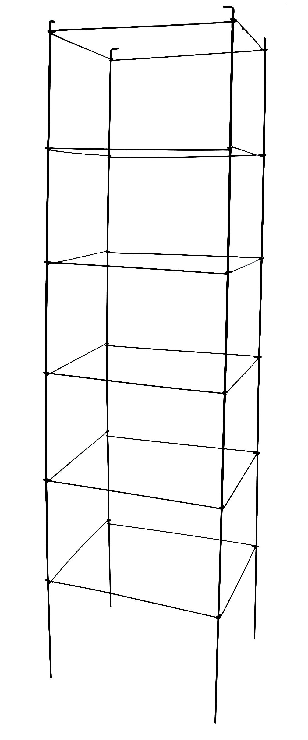 Square Folding Green Plant Support Cages (5 pack) 72'' Green