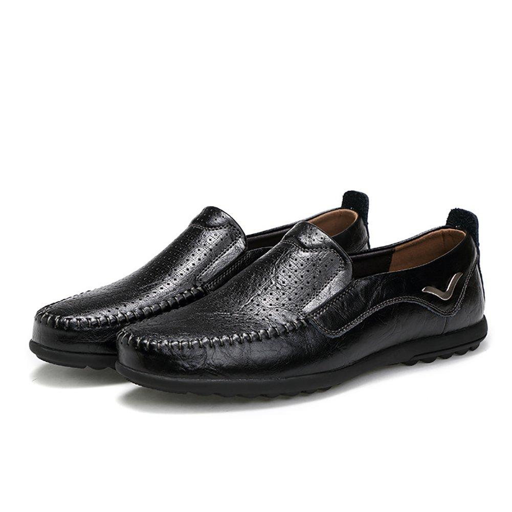 ZJM-sandalia Zapatos de cuero de hombre de verano Zapatos de negocios de ocio de diseño de recorte Zapatos de negocios de ocio de caballero respirar libremente (Color : Negro, Tamaño : 40) 40|Negro
