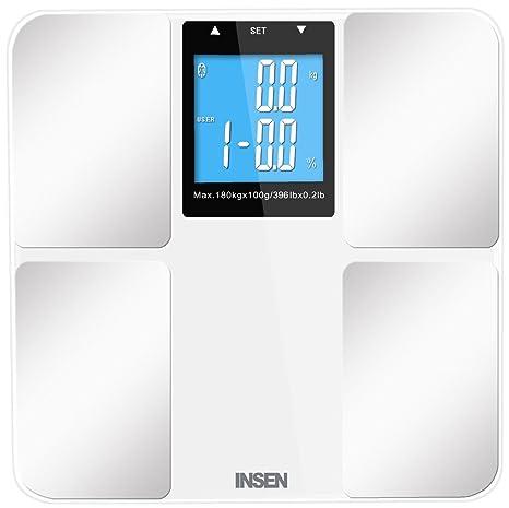 INSEN Báscula Digital de Baño de la grasa corporal, con pantalla LCD grande, Smart
